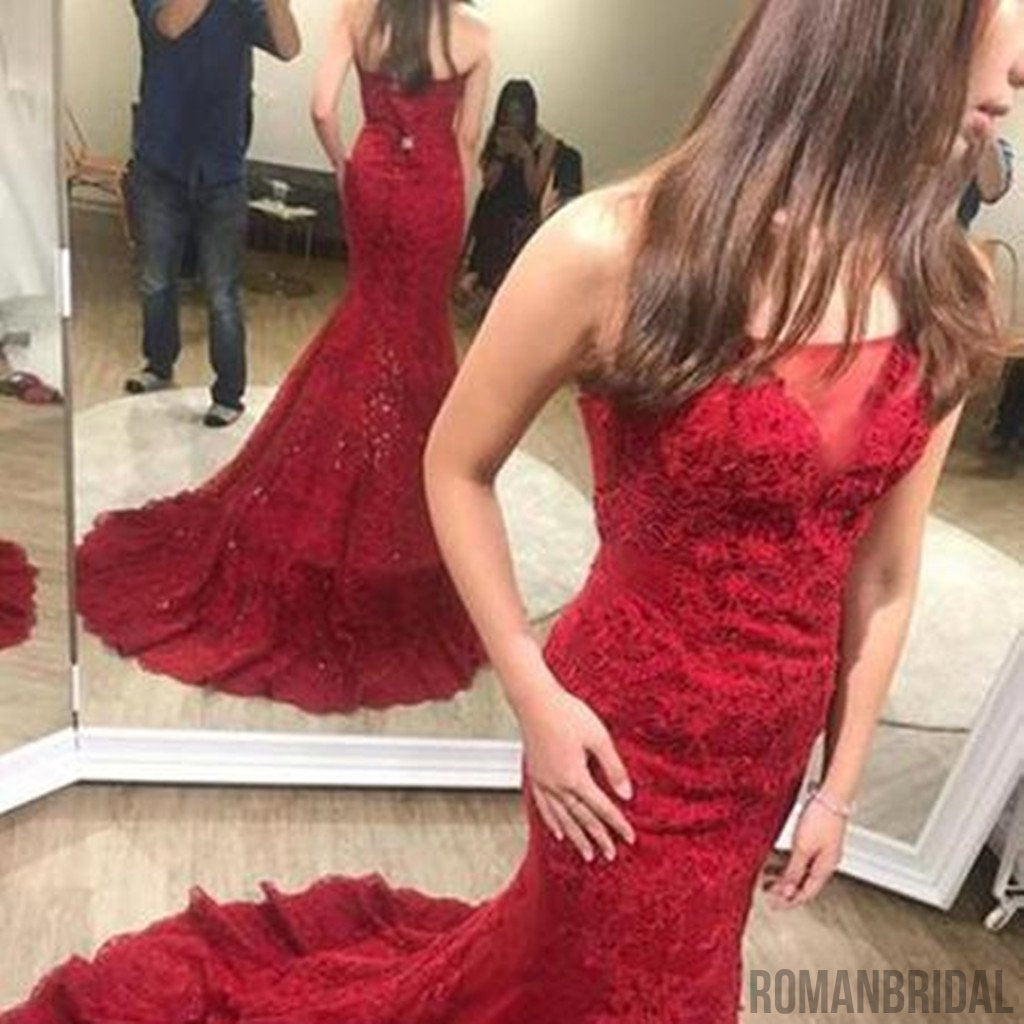2018 Charming Red Appliques Mermaid Prom Dress, Sexy Long Evening Dresses, Tulle Sleeveless Trumpet Prom Dresses, PD407