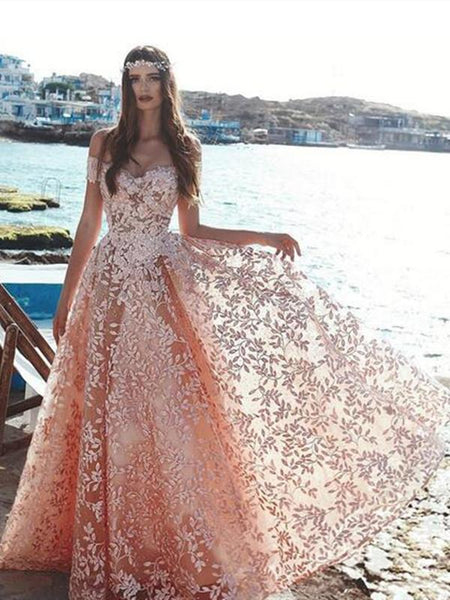 A-line Off-shoulder Lace Princess Long Tulle Prom Dresses, PD0741