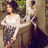 2018 long mermaid lace long sleeves cheap elegant prom dress ,charming wedding party dress , PD0214