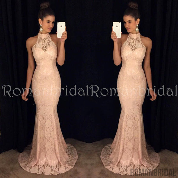 2018 Floor-length Sexy Halter Mermaid Lace Prom Dress, round neck sleeveless High Quality Prom Dresses, PD0479