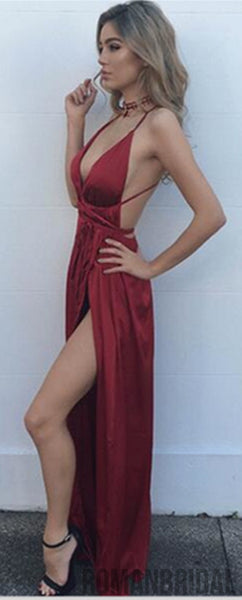 2018 Newest Hot Selling Elegant Women Red Lace Up Sexy Backless Deep V-neck Modest Prom Dress, PD0411