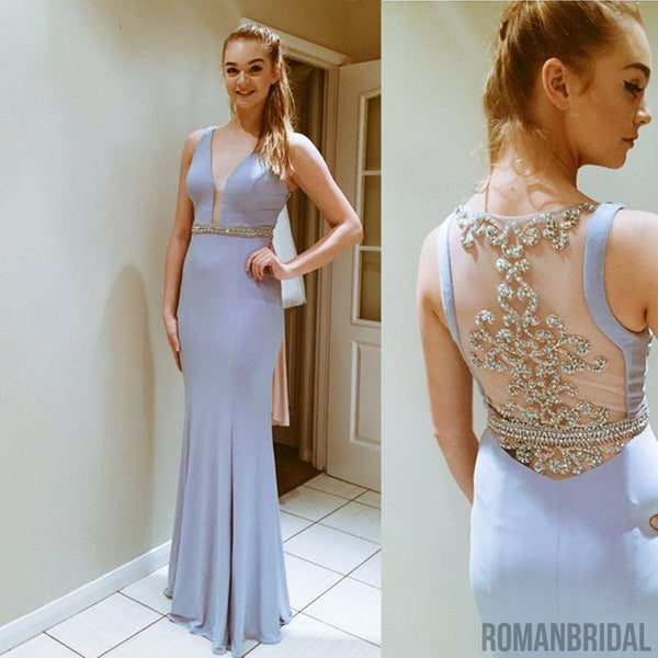 Gorgeous Elegant Sexy Evening Gowns, Floor-length light blue sleeveless V-Neck Prom dresses, PD0509