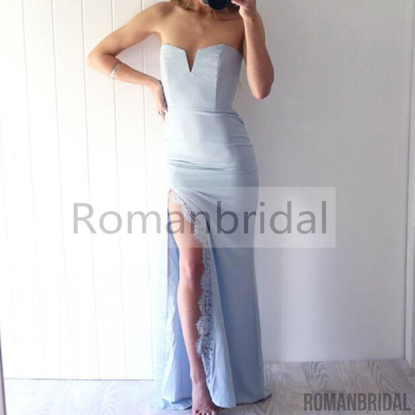 Charming newest sexy blue Chic Mermaid Prom Dress,Light Blue Front Split Floor Length Evening Dress With Lace, Long Prom Dress, PD0444