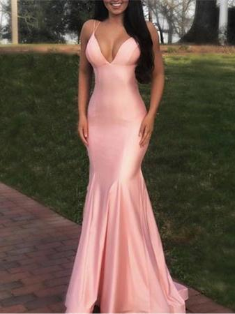 Simple V-neck Pink Long Backless Mermaid Satin Prom Dress, PD0724