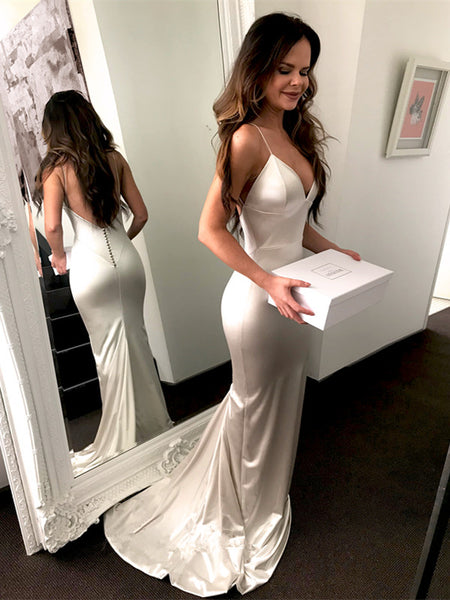 Mermaid V-neck Simple Backless Sliver Sexy Prom Dress, PD0723