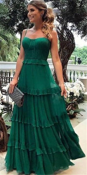 Spaghetti Straps Floor-length Green Chiffon Prom Dress, PD0722