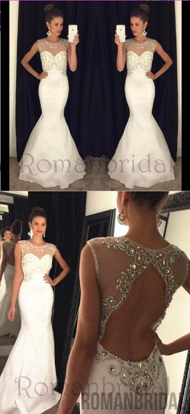 Newest Backless White Prom Dress , Prom Dresses, Graduation Party Dresses, Formal Dress For Teens, Long prom dresses, PD0473