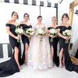 Mermaid Off-the-Shoulder Long Black side split Unique Long Bridesmaid Dress, BD0474