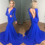 Blue Open Back Deep V Neck Long Sleeves Mermaid Evening Prom Dress, Party Dresses Online, NDPD0012