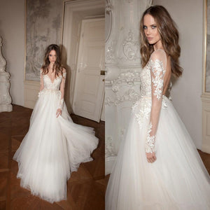 Newest A-line Tulle Lace Appliques Top Long sleeves Backless Wedding Dresses, WD0356