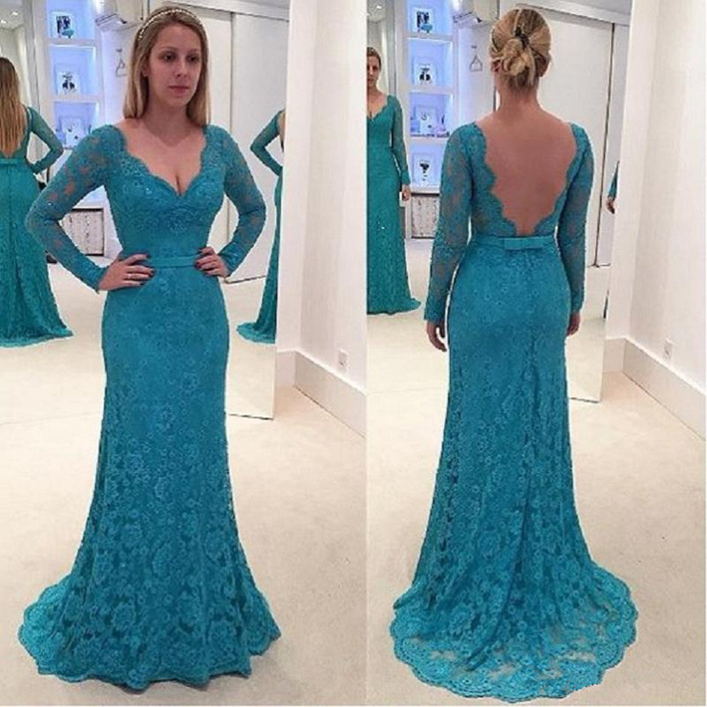 Newest V-neck Long Sleeves Full Lace Backless Prom Dresses, PD0664