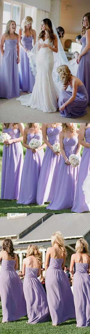Lovely Sweetheart Sleeveless Floor Length Ruched Lavender Long Bridesmaid Dress , BD0500