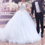 Newest Sweetheart Princess Lace Appliques Long Sleeves Wedding Dresses, WD0397