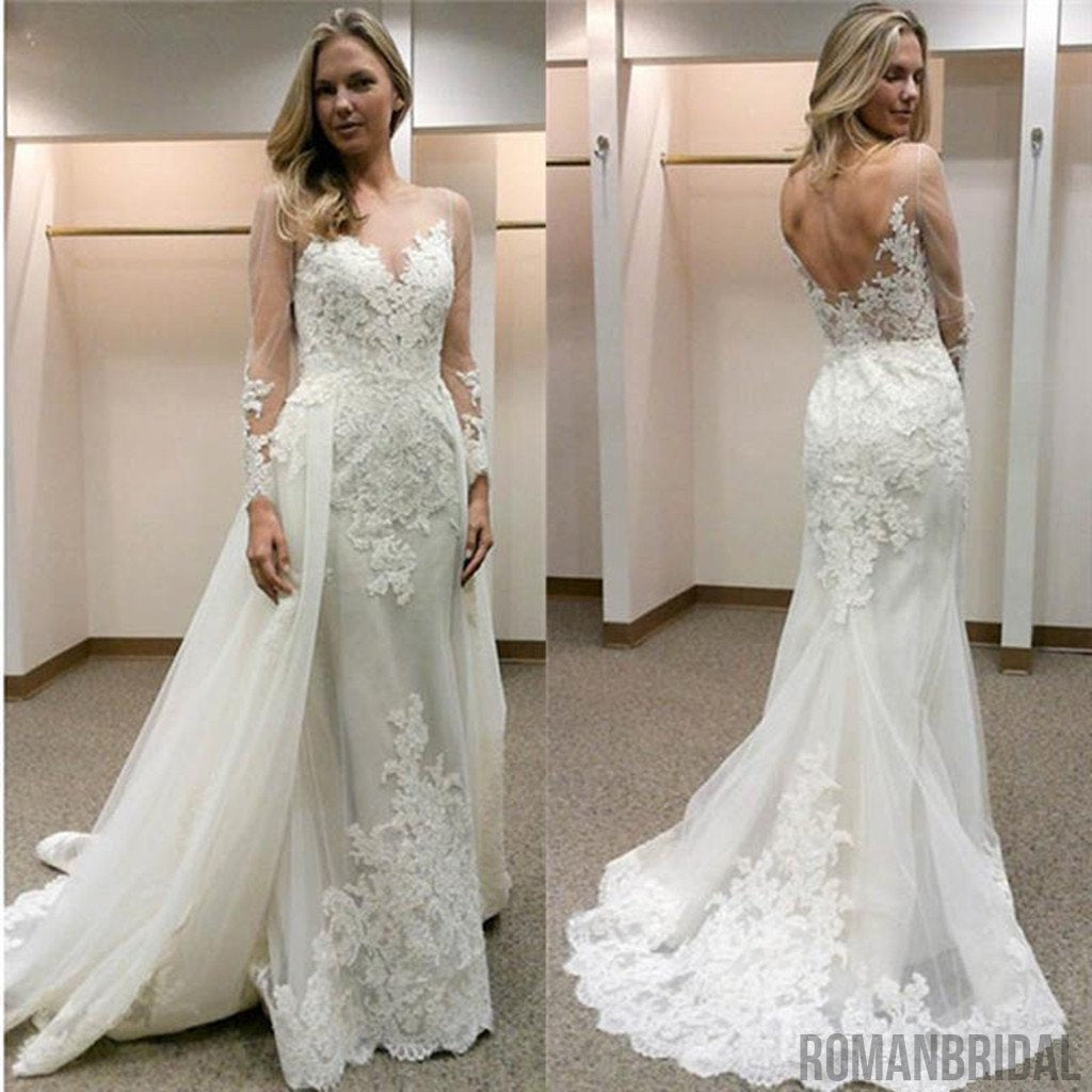 A-line Tulle Mermaid Bakcless Appliques  Open-Back Simple Long Sleeves Wedding Dresses, WD0321