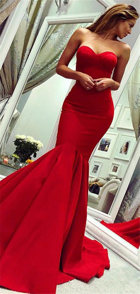 Mermaid Sweetheart Red Long Prom Dress With Train, PD0715