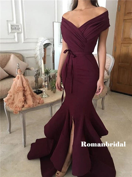 Mermaid Off-shoulder Long Ruffles Prom Dresses With Split, PD0803