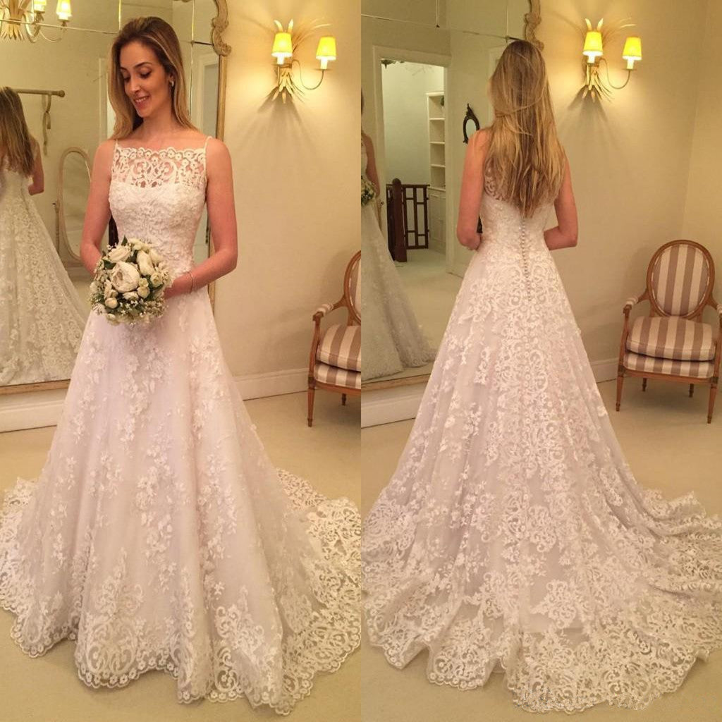Modern Sexy A Line Lace Spaghetti Straps Appliques Sweep Train Wedding Dresses, WD0352