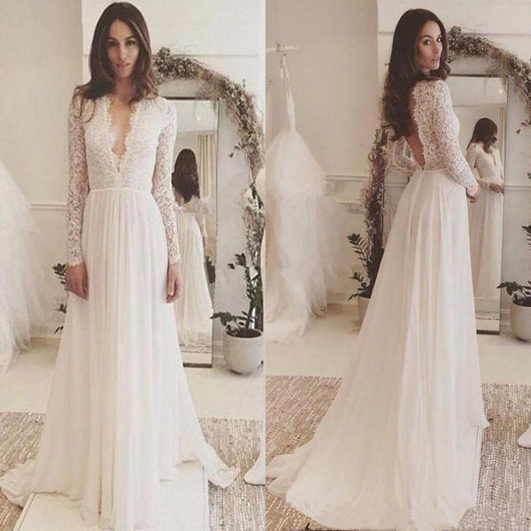 Elegant Popular Lace top chiffon Deep V-neck long sleeve Open-back wedding dresses, WD0345