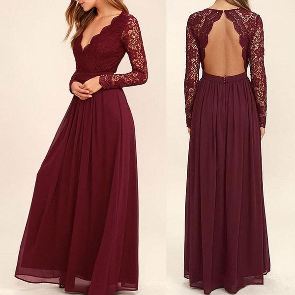 Floor-length long Lace Sleeve Open Back Chiffon wedding party Bridesmaid Dresses, BD0458