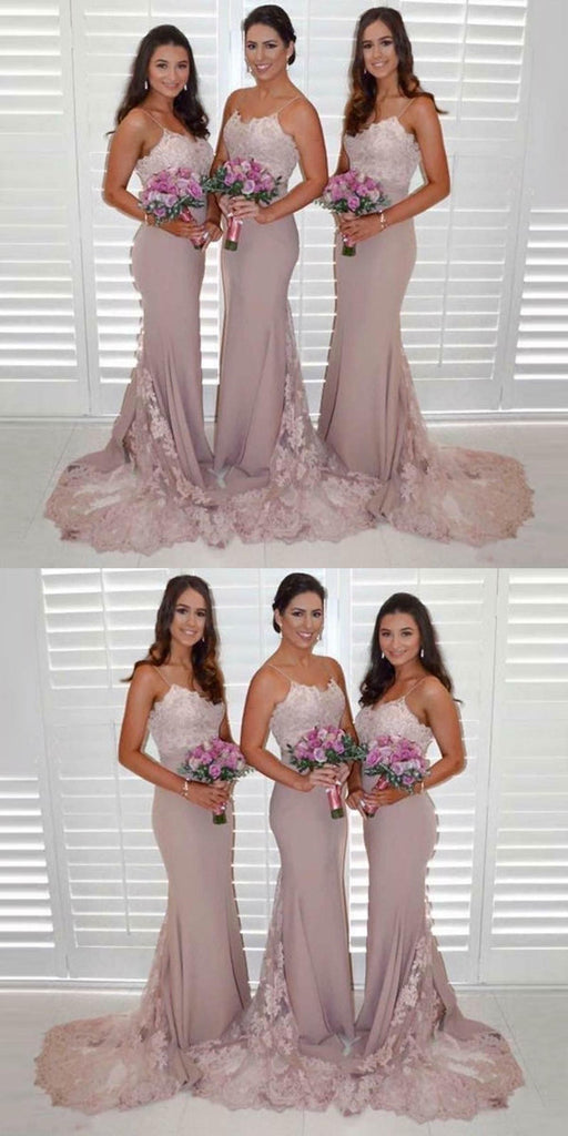 Popular Mermaid Lace Spaghetti Straps Sleeveless Bridesmaid Dresses With Train, BD0534