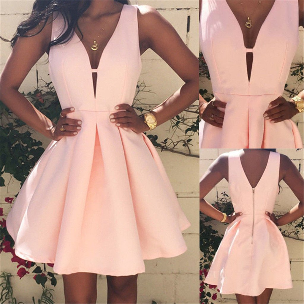 Sexy Deep V-neck Sleeveless Cute Sweet Short Mini Pink Homecoming Dresses, HD0356