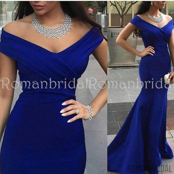 2018 Off-the-shoulder Evening Dresses Sleeveless Mermaid Royal Blue Prom Dress, PD0477