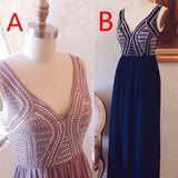 Hot selling A Line V Neck  Floor-length chiffon Beading Long Sexy Prom Dress, PD0519