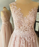A-line Round Neck Sleeveless Lace Appliques Beading Long Tulle Prom Dresses, PD0562