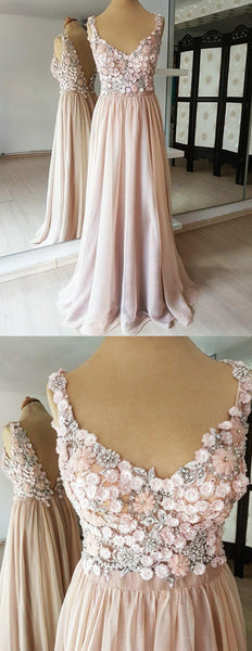 A-line V-neck Flower Beading Appliques V-back Long Chiffon Prom Dresses, PD0563
