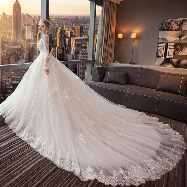 Unique 3/4 Sleeves Open-Back Lace Appliques Wedding Dresses With Train, WD0422
