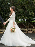 A-line 3/4 Sleeves Lace Wedding Dresses With Sweep Train Bridal Gowns, WD0411