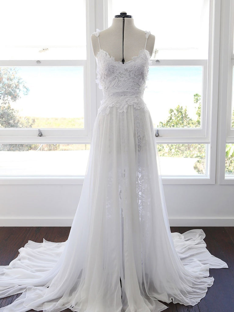 A-line Spaghetti Strap White Lace Chiffon Backless Wedding Bridal Dresses, WD0417