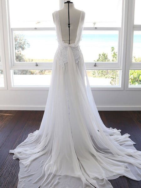 f0439249d4b A-line Spaghetti Strap White Lace Chiffon Backless Wedding Bridal Dresses