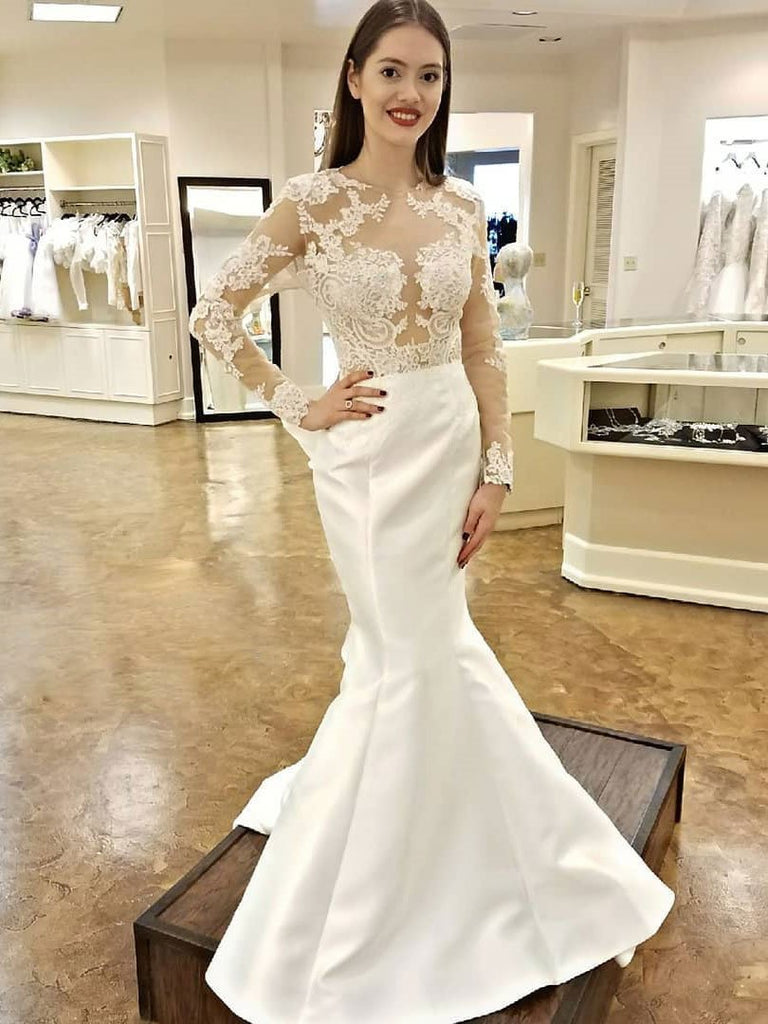 Unique Long Sleeves Lace Mermaid Open Back Fitted Wedding Dresses, WD0429
