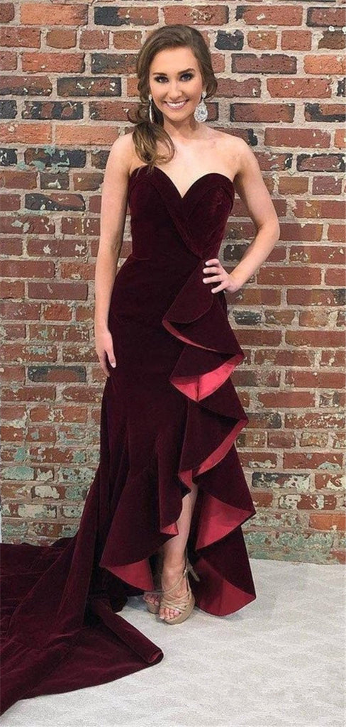 Sweetheart Strapless Burgundy Velvet Long Prom Dresses With Ruffles, PD0769