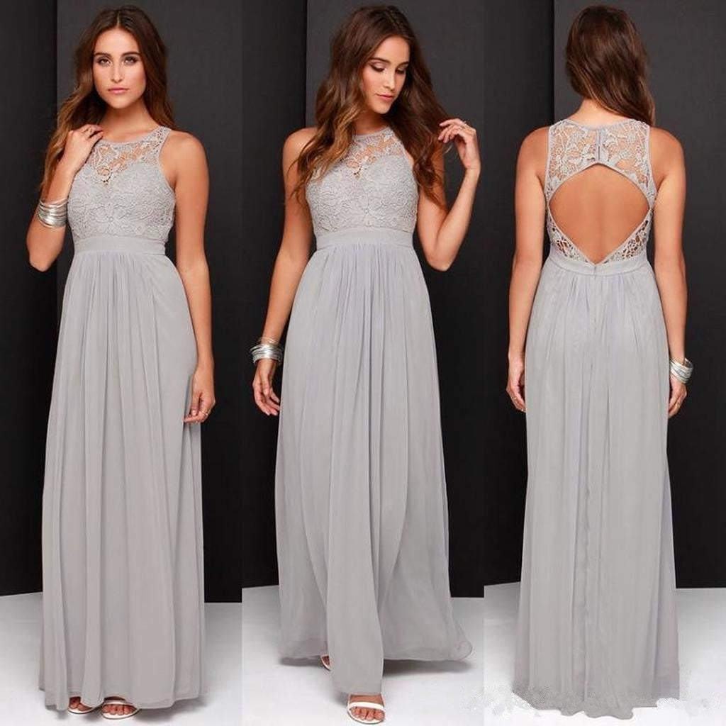 Round Neck Open-back Grey Chiffon Lace Bridesmaid Dress, BD0539