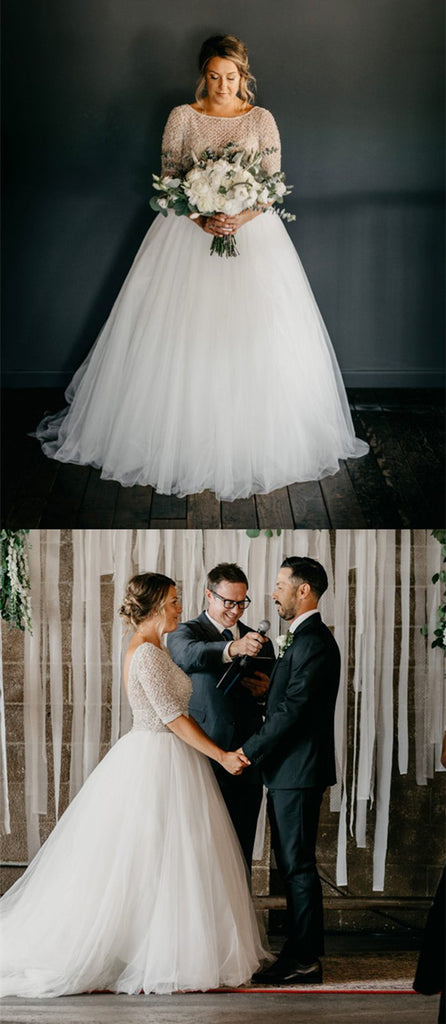 Amazing Half Sleeves Beading Top Long tulle Wedding Dresses, WD0439