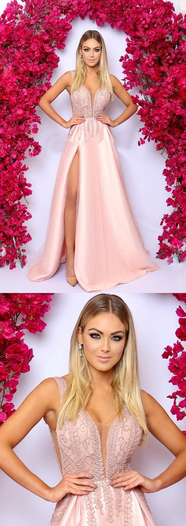 A-Line Deep V-Neck Pink High Split Beading Long Prom Dresses, PD0142