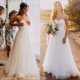 Pure white lace beach wedding dress, Strapless Floor-length Sleeveless wedding Dress, WD0318