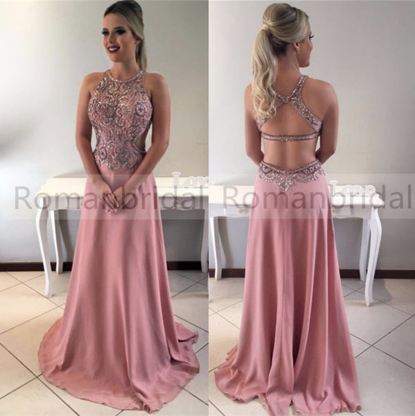 2018 Charming floor-length rhinestone beads round neck, sleeveless top mermaid backless party evening dresses, long Prom Dresses, PD0456