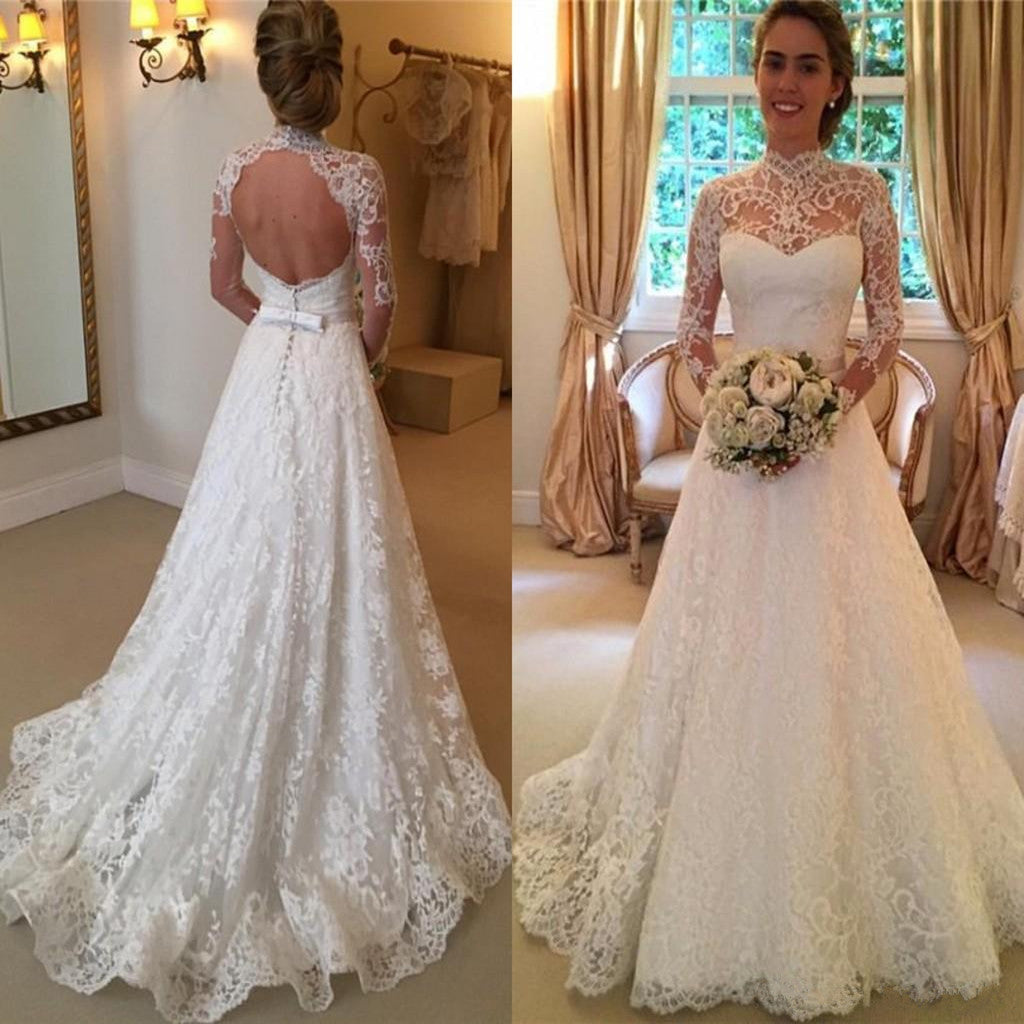 Amazing A-line Full lace Long Sleeves Lace High Neck Open-back Wedding Dresses, WD0358