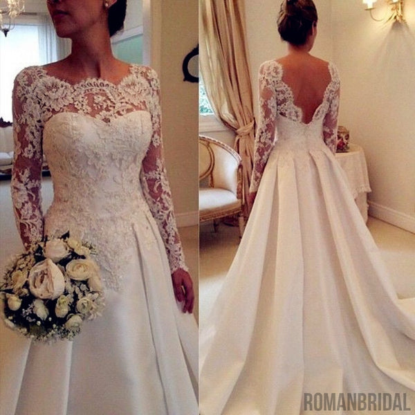 Lace Long Sleeves Wedding Dresses Beading Satin Open Back Wedding