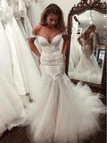 Mermaid Off-shoulder V-neck Appliques Long Tulle Wedding Dresses, WD0470