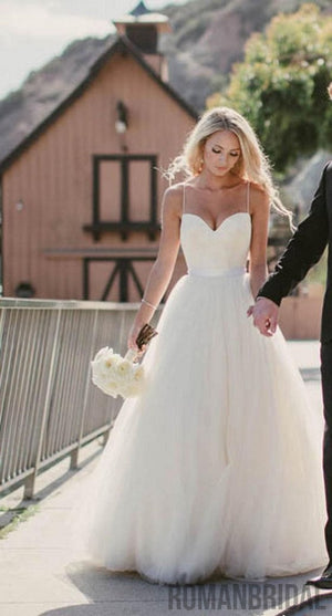 Charming Beauty Spaghetti strap sweetheart tulle beach bridal gown ...