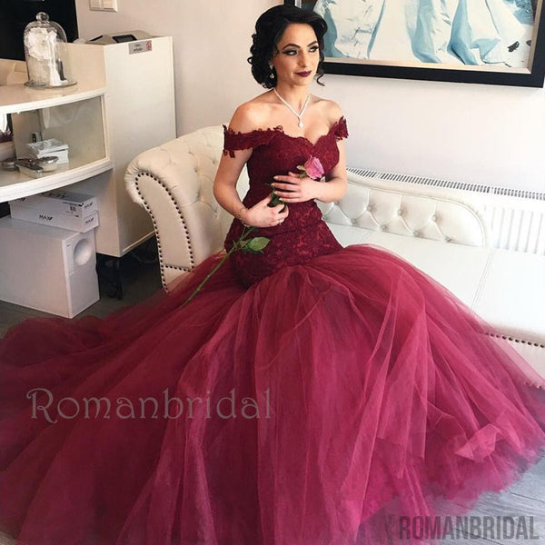 Amazing  Lace Tulle Long Backless Wine Red Mermaid Prom Dresses, Burgundy Tulle Off-the-Shoulder Mermaid Lace Prom Dresses , PD0490