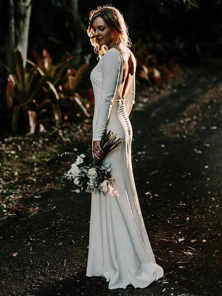 Elegant Long Sleeves Backless Simple Cheap Wedding Dresses, WD0456
