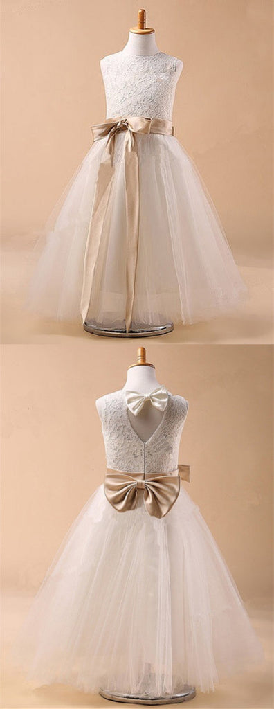 Round Neck Sleeveless Lace Top Tulle Flower Girl Dresses With Bow, FG0134