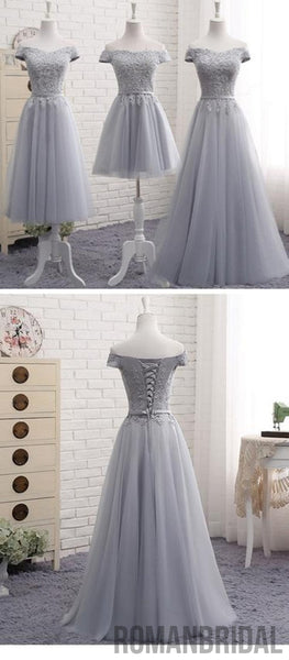 2018 A-Line Gray Lace Off the Shoulder Tulle Lace-up Sweetheart Prom Dress, PD0415