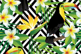 Microfibre XL Printed Towel - Black / Yellow Toucan