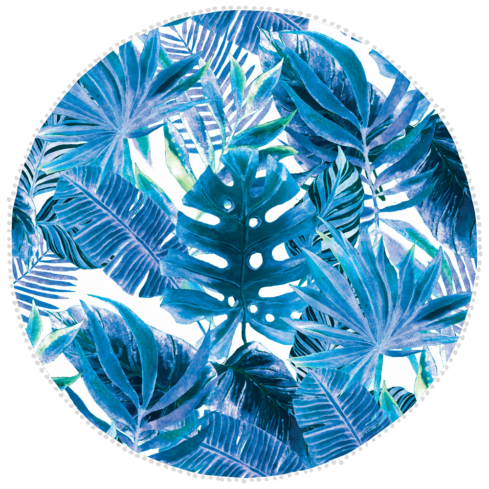 Microfibre Round Printed Towel - Blue Leaves